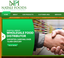 Natali Foods Wholesale Web Design